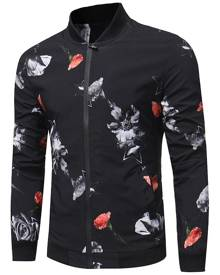 Rosegal Zip Up Carnation Print Bomber Jacket