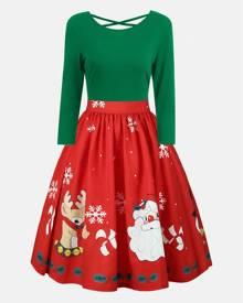 Rosegal Plus Size Christmas Criss Cross Print Dress