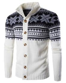 Rosegal Geometric Snowflake Print Christmas Knitted Cardigan