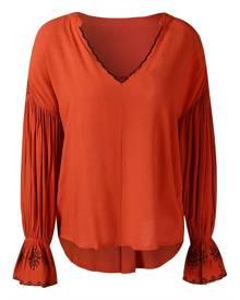 Rosegal Puff Sleeve Drop Shoulder Asymmetrical Blouse