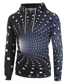Rosegal Abstract Checked 3D Swirl Graphic Front Pocket Hoodie