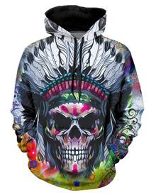 Rosegal Indian Skull Graphic Casual Front Pocket Hoodie