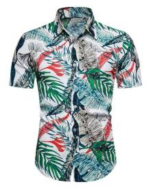 Rosegal Beach Hawaii Leaves Print Button Up Shirt