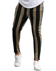 Rosegal Vertical Striped Drawstring Pencil Pants