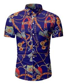Rosegal Chain Print Button Up Short Sleeve Hawaii Shirt