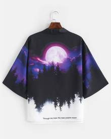 Rosegal Rising Moon Through Tree Forest Print Casual Kimono Cardigan