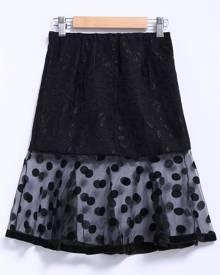 Rosegal Chic Style Organza Splicing Polka Dot Print Ruffles Black Women's Skirt