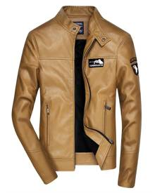 Rosegal Embroidered Zip Up Faux Leather Jacket