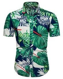 Rosegal Tropical Leaves Print Short Sleeve Hawaii Shirt