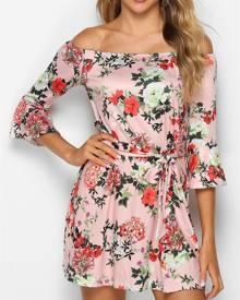 Rosegal Floral Print Off The Shoulder Belted Dress