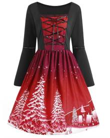 Rosegal Christmas Tree Print Plus Size Lace Up Dress