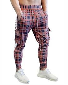 Rosegal Color Block Splicing Plaid Side Flap Pocket Casual Jogger Pants