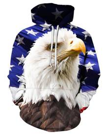 Rosegal Eagle Print Pouch Pocket Hoodie