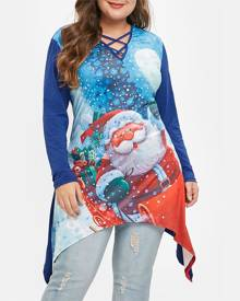 Rosegal Plus Size Asymmetric Crisscross Graphic Tunic Christmas Tee