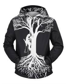 Rosegal Tree Character Print Kangaroo Pocket Hoodie