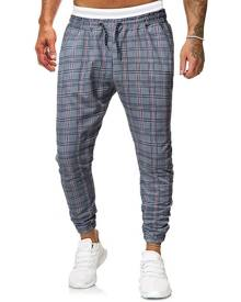 Rosegal Casual Plaid Printed Drawstring Jogger Pants