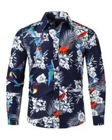 Rosegal Flower Animal Print Long Sleeve Casual Shirt