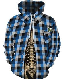 Rosegal Plaid Skeleton Print Pocket Hoodie