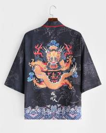 Rosegal Dragon Huge Sea Waves Print Kimono Cardigan