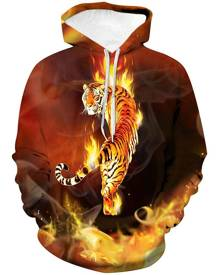 Rosegal Tiger Graphic Front Pocket Drawstring Hoodie