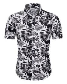 Rosegal Two Tone Leaf Print Hawaii Short Sleeve Shirt