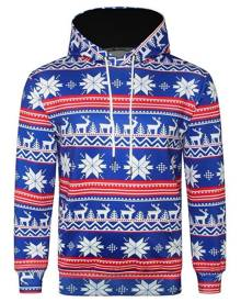 Rosegal Allover Snowflake Print Big Pocket Hoodie