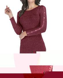 Rosegal Ribbed Buttons Metallic Thread Bodycon Jumper Dress