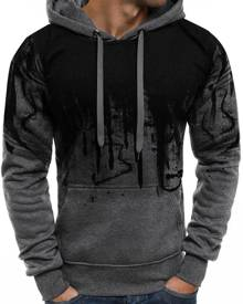 Rosegal Abstract Gradient Painted Front Pocket Drawstring Hoodie