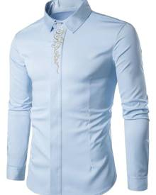Rosegal Baroque Embroidery Accent Button Up Long Sleeve Shirt