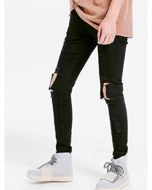 Rosegal Solid Color Skinny Ripped Jeans
