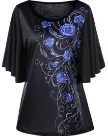 Rosegal Plus Size Floral Drape Sleeve T-shirt