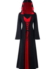 Rosegal Halloween Plus Size Lace Up Hooded Maxi Dress