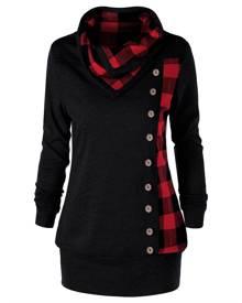 Rosegal Plus Size Cowl Neck Plaid Sweatshirt