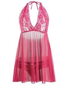 Rosegal Plus Size Lace Sheer Halter Plunge Babydoll