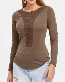 Rosegal Casual Scoop Neck Hollow Out Crochet Spliced Solid Color T-Shirt For Women