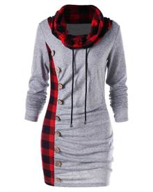 Rosegal Plaid Trim Cowl Neck Tunic Sweatshirt Dress