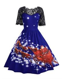 Rosegal Plus Size Lace Panel Midi Father Christmas Party Dress