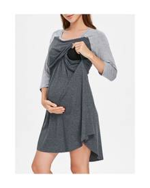 Rosewholesale Two Tone Color Block Maternity Sleep Dress