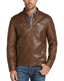 Pronto Uomo Men's Camel Modern Fit Moto Jacket - Size: XL - Only Available at Men's Wearhouse