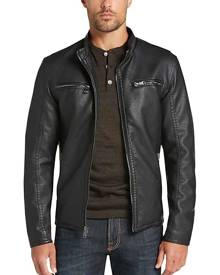 Pronto Uomo Men's Black Modern Fit Moto Jacket - Size: Medium - Only Available at Men's Wearhouse