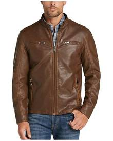 Pronto Uomo Men's Camel Modern Fit Moto Jacket - Size: Small - Only Available at Men's Wearhouse