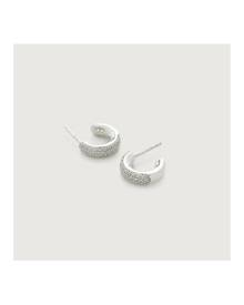 Monica Vinader Sterling Silver Fiji Mini Hoop Diamond Earrings Diamond