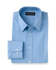 Slim Fit Cotton Broadcloth Straight Collar Dress Shirt