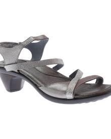 Women's Naot Innovate Heeled Sandal, Size: 36 M, Silver Threads Leather/Beige Microfiber/Rhinestone