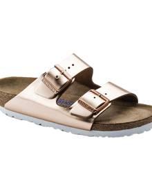 Women's Birkenstock Arizona Soft Footbed Leather Sandal, Size: 36 N, Copper Metallic