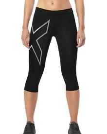 Women's 2XU Core Compression 3/4 Tight, Size: L (144 lbs), Black/Silver