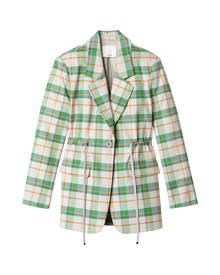 Tibi Hani Plaid Oversized Drawstring Blazer - Plaid Multi - M