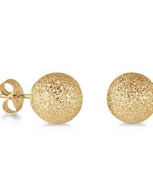 14K Yellow Gold 8mm Laser Cut Ball Stud Earrings