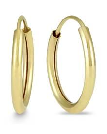 14MM Hoop Endless Earrings 14k Yellow Gold