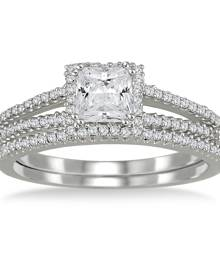 4/5 Carat TW Princess Cut Diamond Bridal Set in 10K White Gold